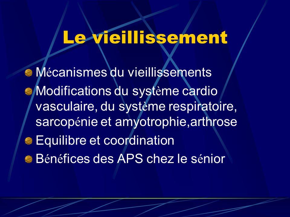 Le vieillissement M é canismes du vieillissements Modifications du syst è me cardio vasculaire, du syst è me respiratoire, sarcop é nie et amyotrophie