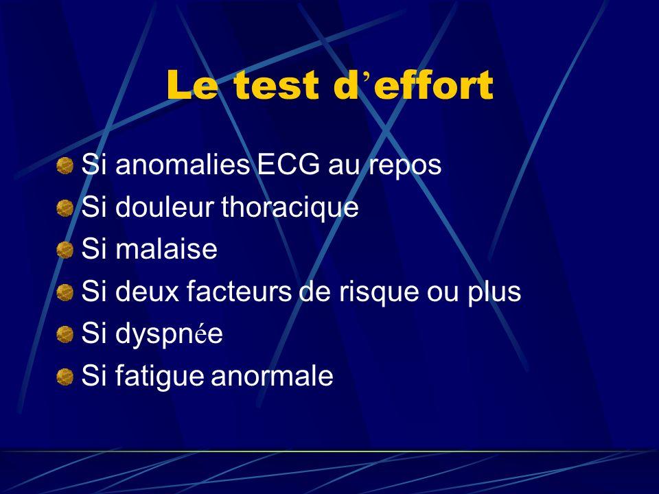 Le test d effort Si anomalies ECG au repos Si douleur thoracique Si malaise Si deux facteurs de risque ou plus Si dyspn é e Si fatigue anormale
