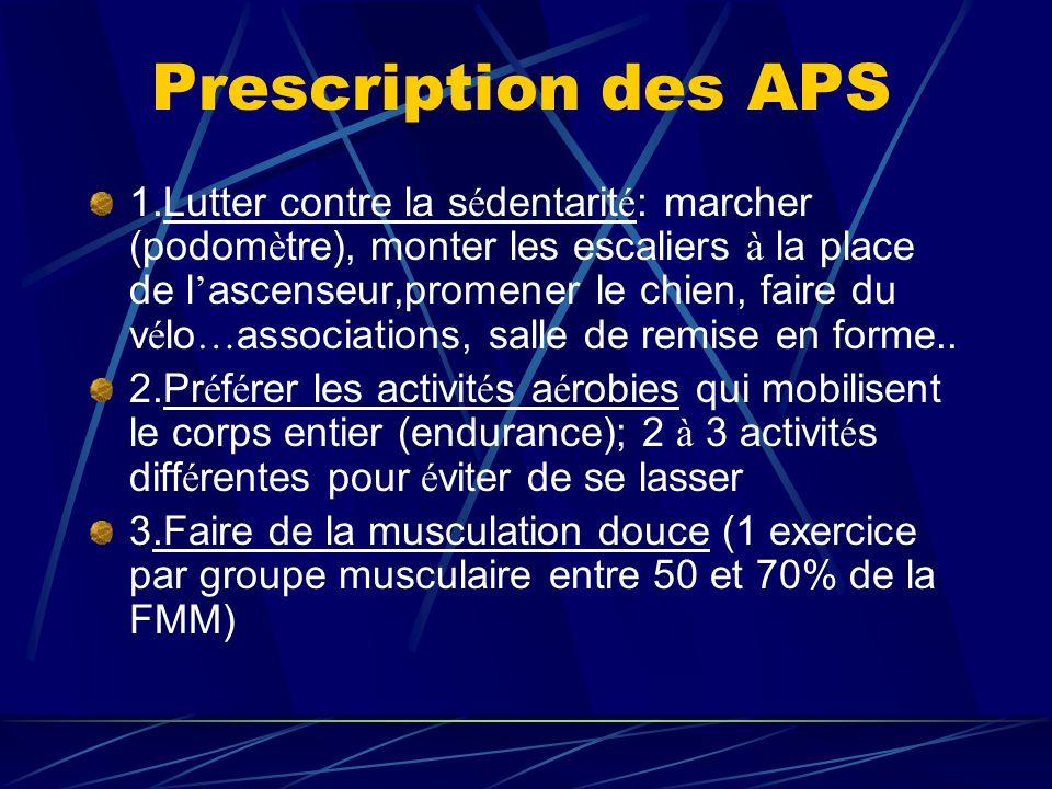 Prescription des APS 1.Lutter contre la s é dentarit é : marcher (podom è tre), monter les escaliers à la place de l ascenseur,promener le chien, fair