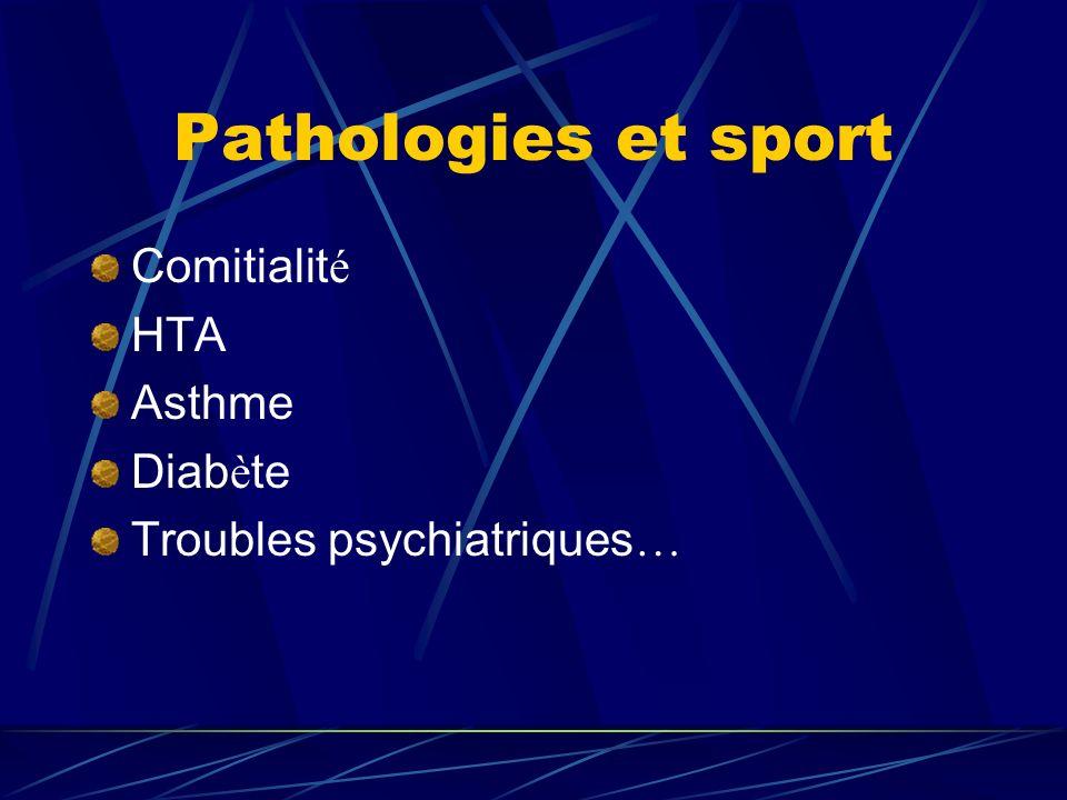 Pathologies et sport Comitialit é HTA Asthme Diab è te Troubles psychiatriques …