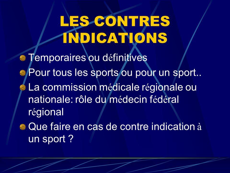LES CONTRES INDICATIONS Temporaires ou d é finitives Pour tous les sports ou pour un sport.. La commission m é dicale r é gionale ou nationale: rôle d