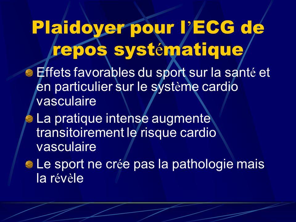 Plaidoyer pour l ECG de repos syst é matique Effets favorables du sport sur la sant é et en particulier sur le syst è me cardio vasculaire La pratique