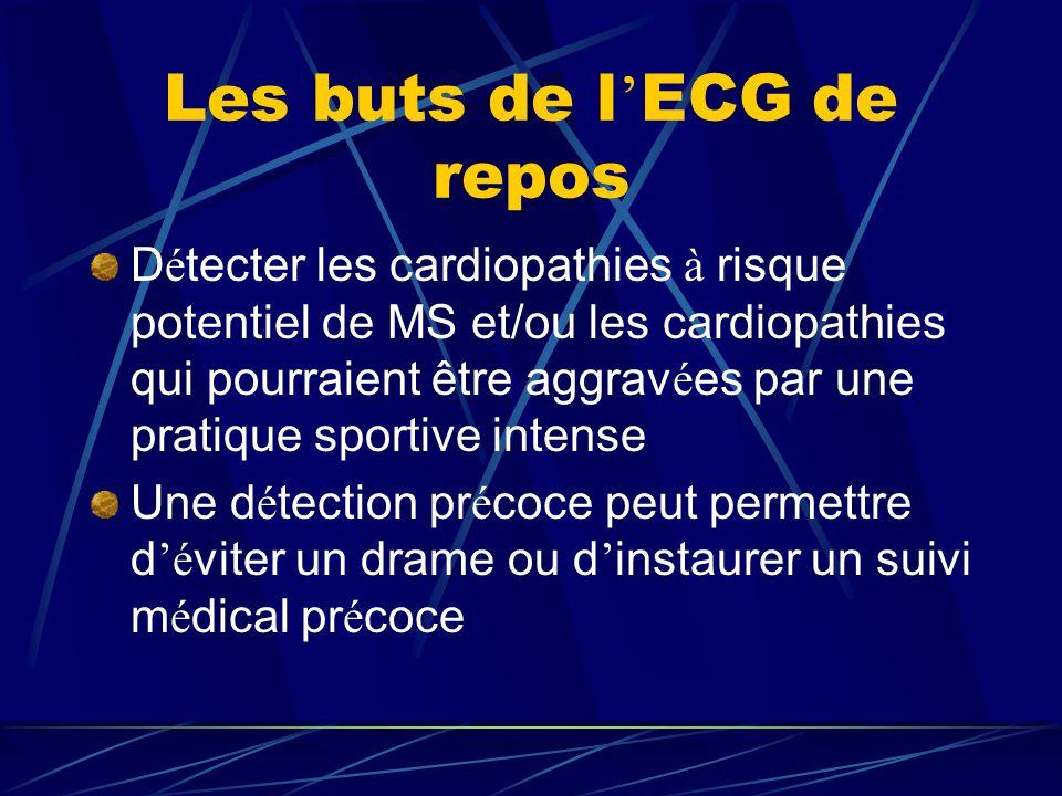 Les buts de l ECG de repos D é tecter les cardiopathies à risque potentiel de MS et/ou les cardiopathies qui pourraient être aggrav é es par une prati