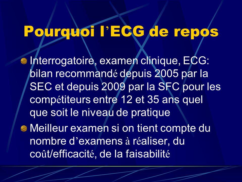 Pourquoi l ECG de repos Interrogatoire, examen clinique, ECG: bilan recommand é depuis 2005 par la SEC et depuis 2009 par la SFC pour les comp é titeu