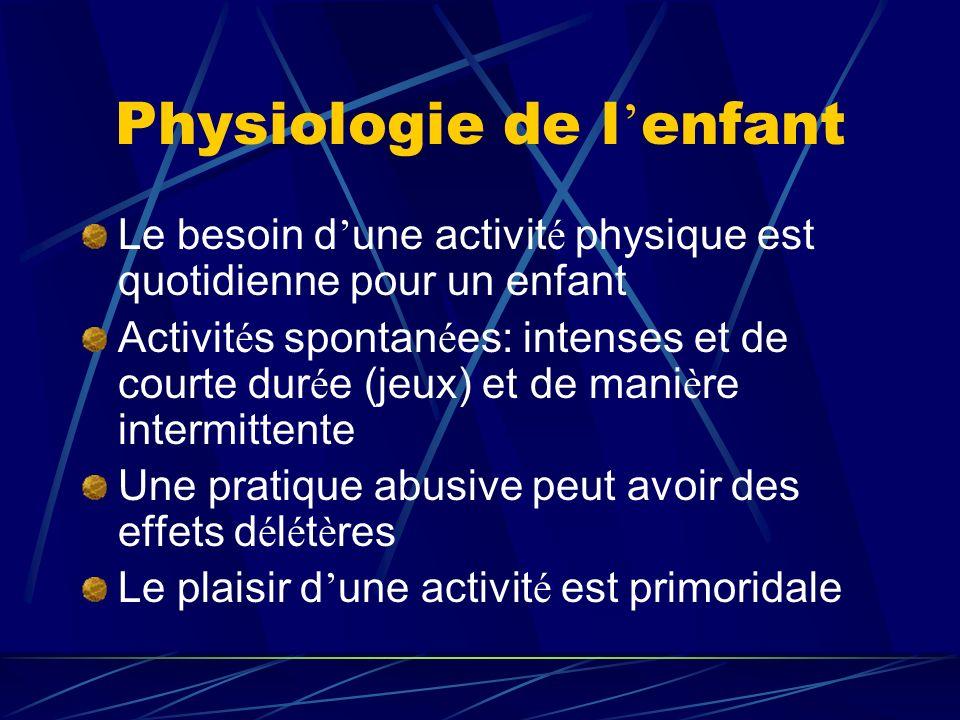 Physiologie de l enfant Le besoin d une activit é physique est quotidienne pour un enfant Activit é s spontan é es: intenses et de courte dur é e (jeu
