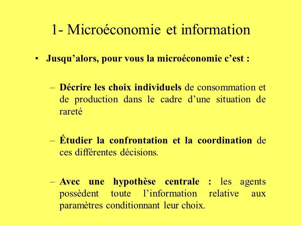 1- Microéconomie et information Jusqualors, pour vous la microéconomie cest : –Décrire les choix individuels de consommation et de production dans le