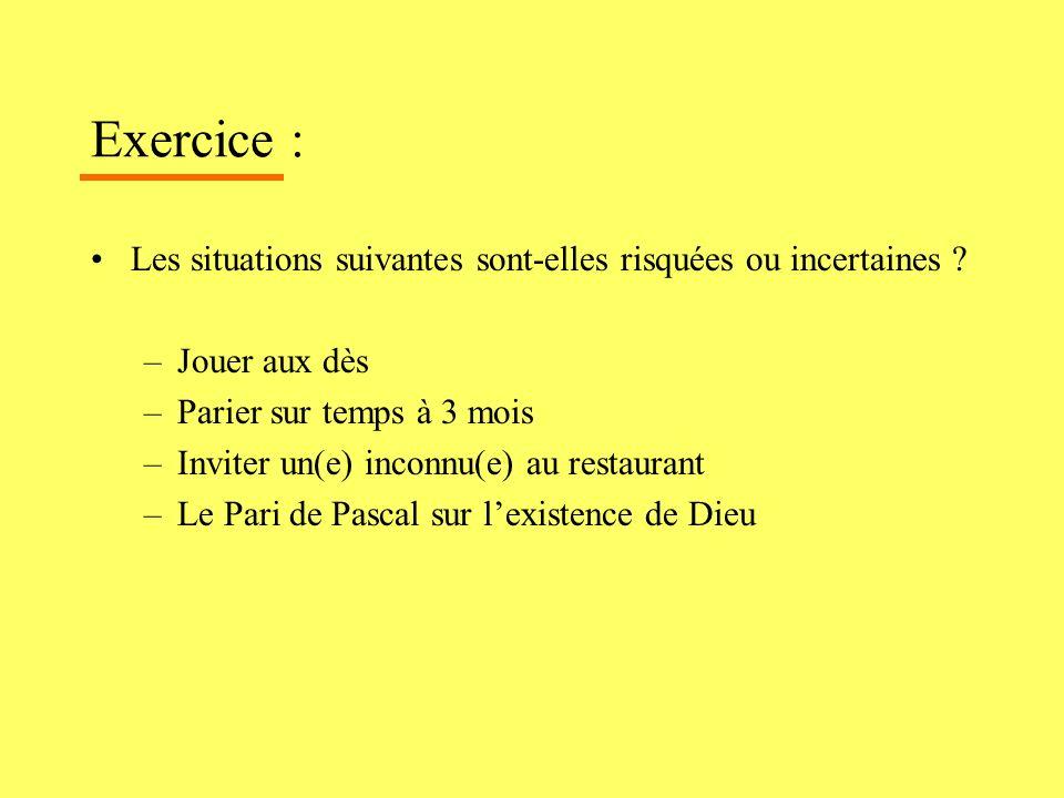 Exercice : Les situations suivantes sont-elles risquées ou incertaines ? –Jouer aux dès –Parier sur temps à 3 mois –Inviter un(e) inconnu(e) au restau
