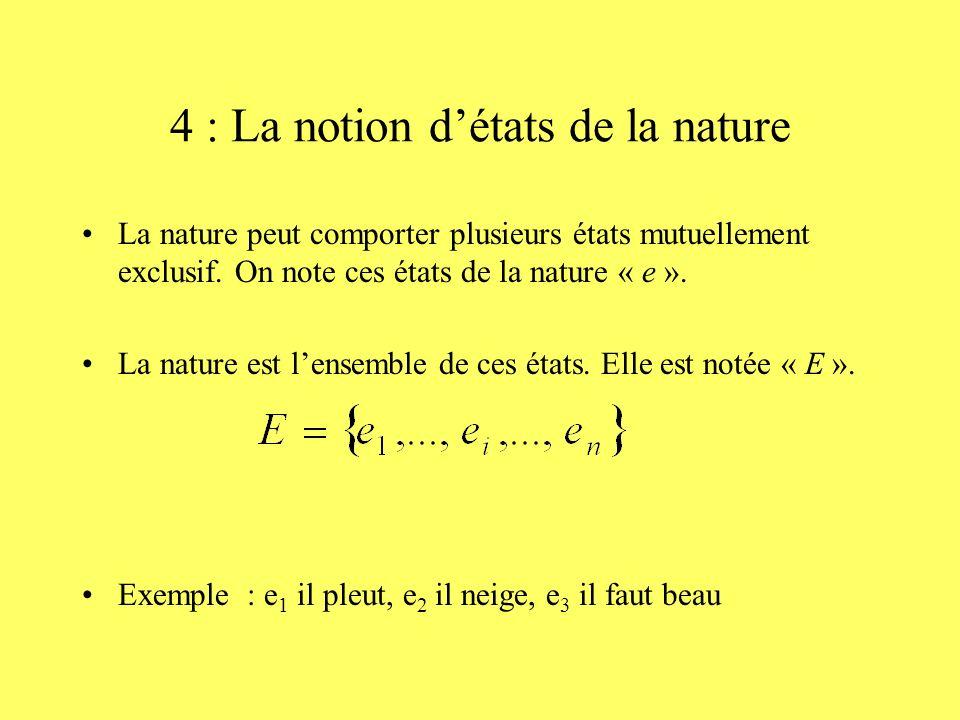 4 : La notion détats de la nature La nature peut comporter plusieurs états mutuellement exclusif. On note ces états de la nature « e ». La nature est