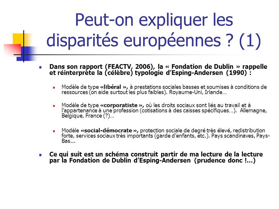 Peut-on expliquer les disparités européennes ? (1) Dans son rapport (FEACTV, 2006), la « Fondation de Dublin » rappelle et réinterprète la (célèbre) t
