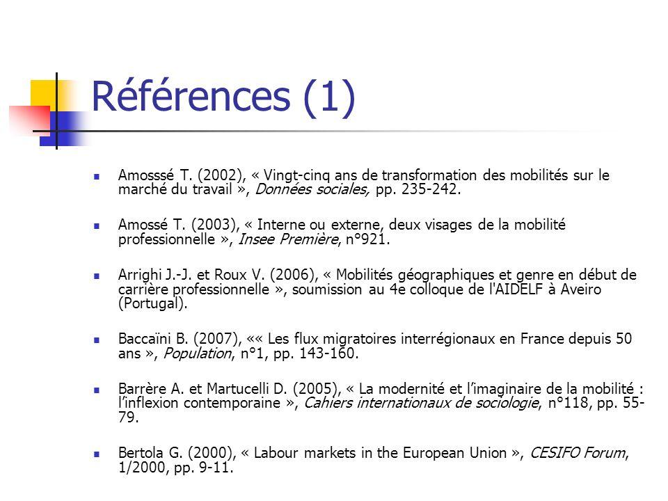 Références (1) Amosssé T. (2002), « Vingt-cinq ans de transformation des mobilités sur le marché du travail », Données sociales, pp. 235-242. Amossé T