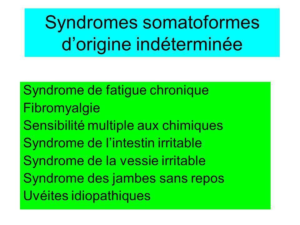 Syndrome de fatigue chronique 2 critères majeurs –Fatigue chronique épuisement (>6mois) –Cause inexpliquée (diagnostic dexclusion) 4/8 critères mineurs –Troubles Neuro-cognitifs –Pharyngites ou angines à répétition –ADP cervicales ou axillaires –Myalgies –Arthralgies migratrices –Céphalées nouvelles –Sommeil non réparateur –Fatigue > 24 heures - 0,5% de la pop - 8F/2H - Yuppies Sd - Épidémie (Lac Tahoe) - Début brutal - SFC post-infectieux - Bilan bio normal - conclusion fréquente : maladie psycho- somatique.