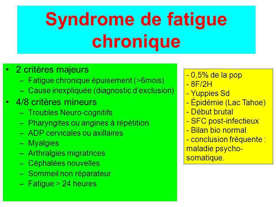 Syndrome de fatigue chronique 2 critères majeurs –Fatigue chronique épuisement (>6mois) –Cause inexpliquée (diagnostic dexclusion) 4/8 critères mineur