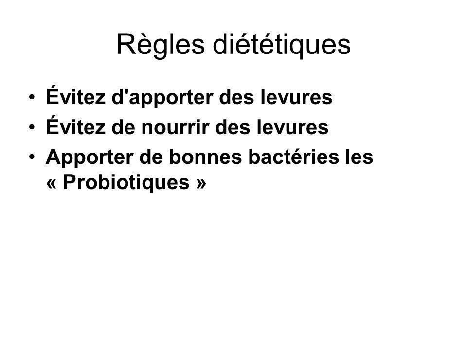Règles diététiques Évitez d'apporter des levures Évitez de nourrir des levures Apporter de bonnes bactéries les « Probiotiques »