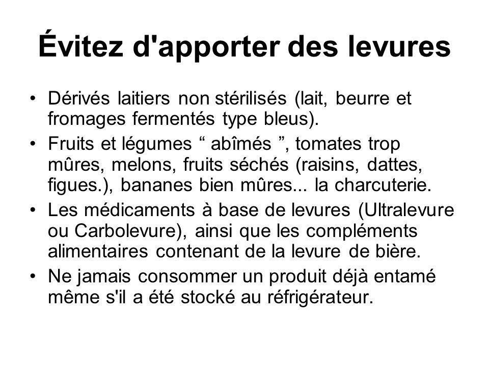 Évitez d'apporter des levures Dérivés laitiers non stérilisés (lait, beurre et fromages fermentés type bleus). Fruits et légumes abîmés, tomates trop