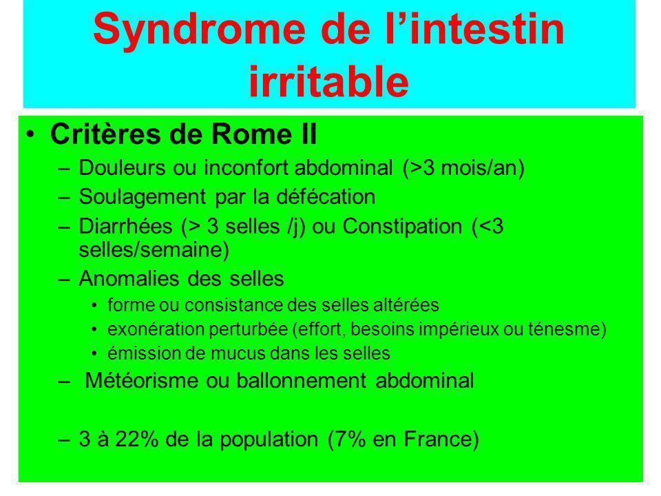 Syndrome de lintestin irritable Critères de Rome II –Douleurs ou inconfort abdominal (>3 mois/an) –Soulagement par la défécation –Diarrhées (> 3 selle