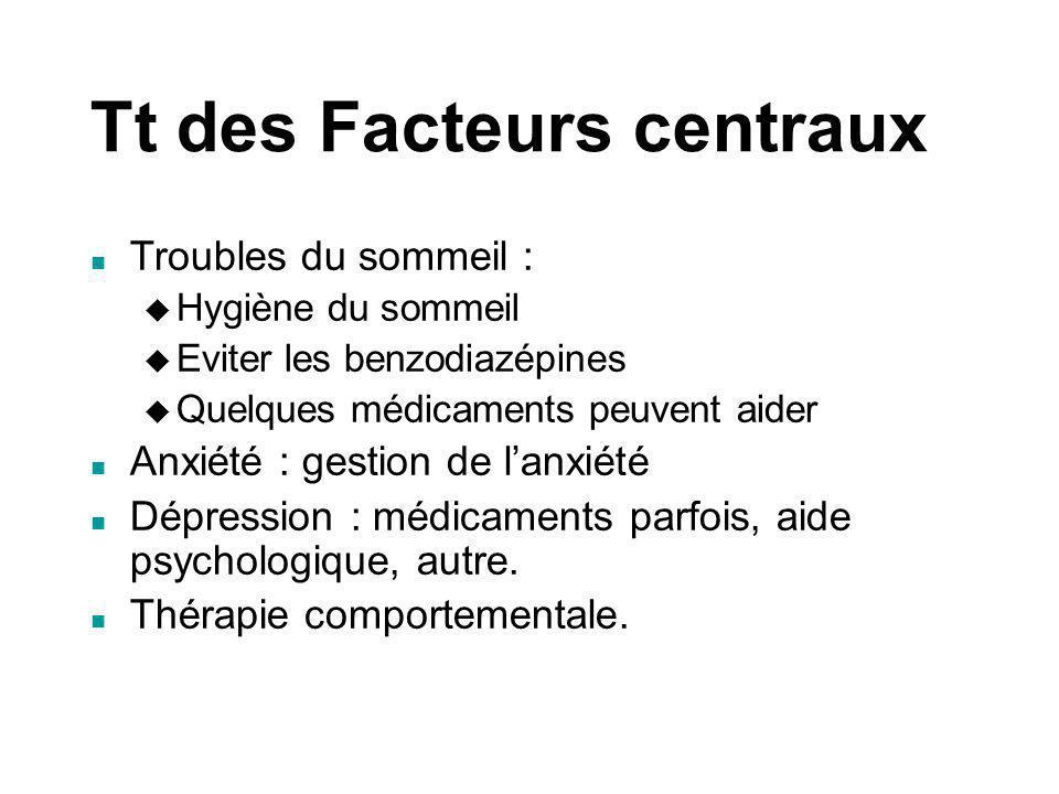 Tt des Facteurs centraux Troubles du sommeil : Hygiène du sommeil Eviter les benzodiazépines Quelques médicaments peuvent aider Anxiété : gestion de l