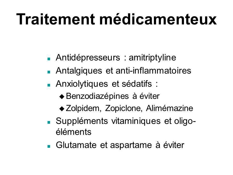 Traitement médicamenteux Antidépresseurs : amitriptyline Antalgiques et anti-inflammatoires Anxiolytiques et sédatifs : Benzodiazépines à éviter Zolpi