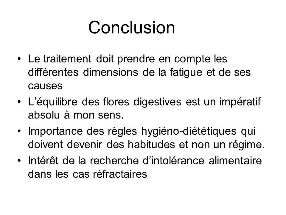 Conclusion Le traitement doit prendre en compte les différentes dimensions de la fatigue et de ses causes Léquilibre des flores digestives est un impé