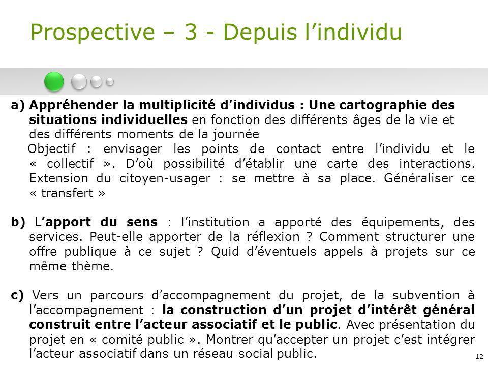 12 Prospective – 3 - Depuis lindividu a)Appréhender la multiplicité dindividus : Une cartographie des situations individuelles en fonction des différe