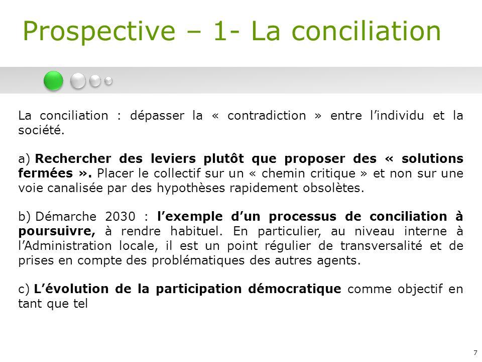 7 La conciliation : dépasser la « contradiction » entre lindividu et la société. a) Rechercher des leviers plutôt que proposer des « solutions fermées