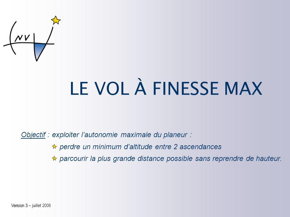 LE VOL À FINESSE MAX Version 3 Version 3 – juillet 2006 Objectif :exploiter lautonomie maximale du planeur : perdre un minimum daltitude entre 2 ascendances parcourir la plus grande distance possible sans reprendre de hauteur.