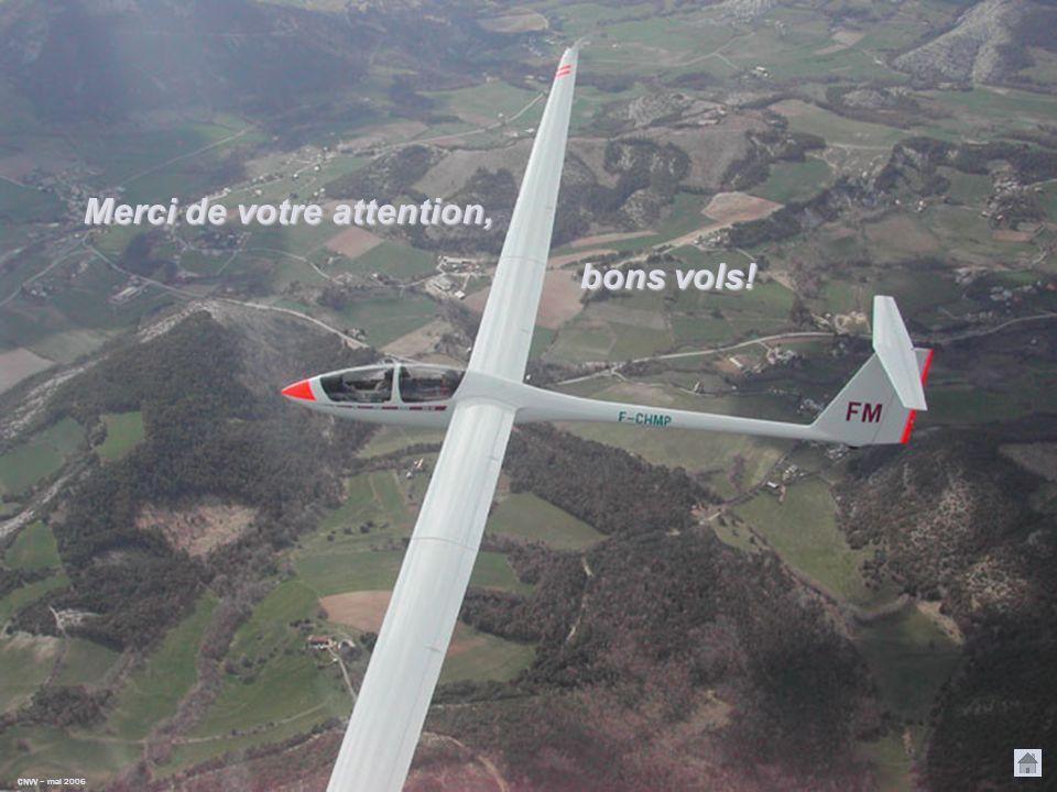 CNVV CNVV – mars 2006 Tableau des équivalents vent Exemple Pour un planeur, de finesse 35, subissant un vent de face de 50 km/h, on décalera lorigine