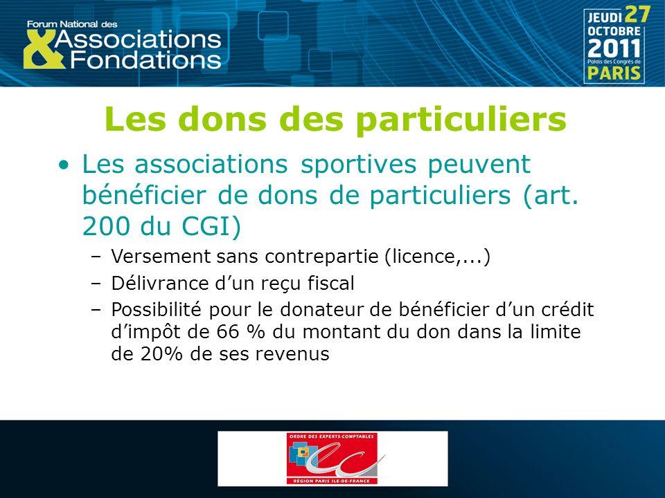 Les dons des particuliers Les associations sportives peuvent bénéficier de dons de particuliers (art. 200 du CGI) –Versement sans contrepartie (licenc