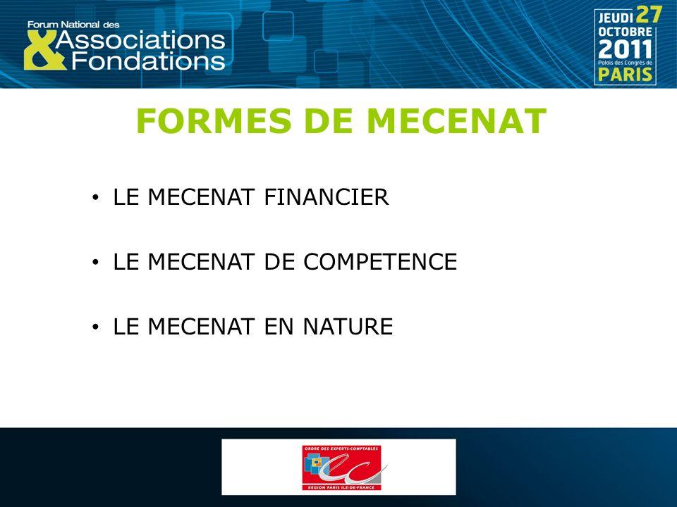 FORMES DE MECENAT LE MECENAT FINANCIER LE MECENAT DE COMPETENCE LE MECENAT EN NATURE