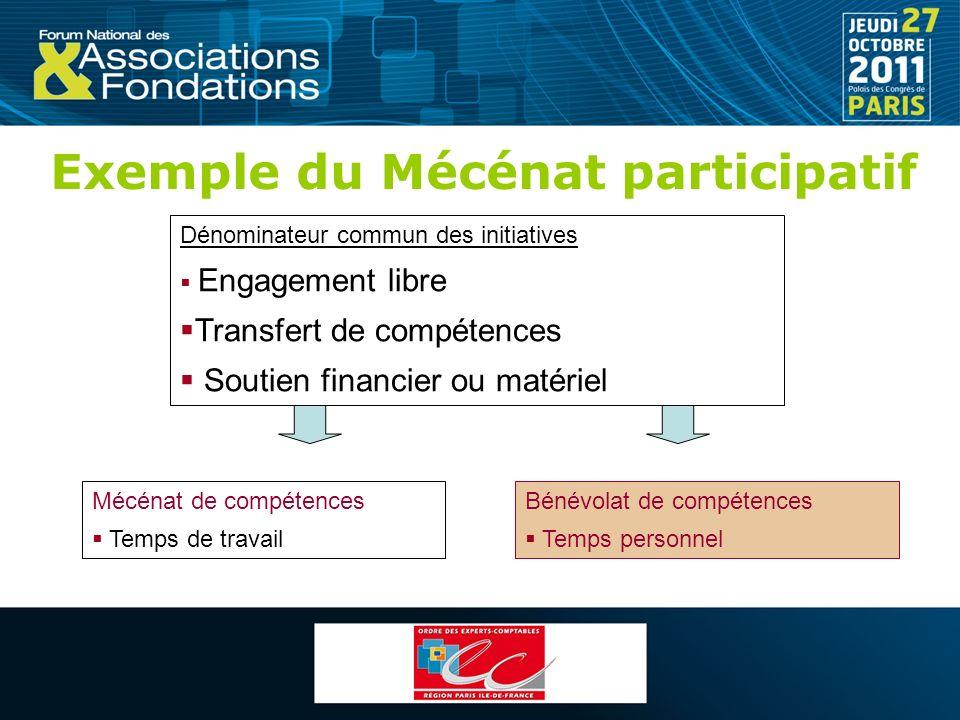 Exemple du Mécénat participatif Dénominateur commun des initiatives Engagement libre Transfert de compétences Soutien financier ou matériel Mécénat de