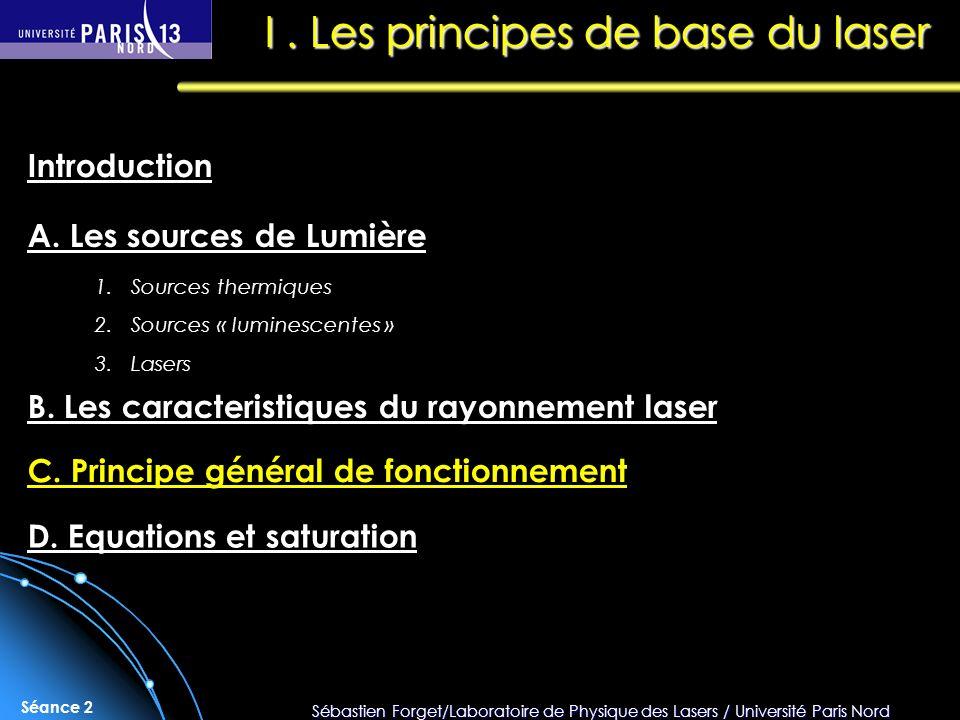 Sébastien Forget/Laboratoire de Physique des Lasers / Université Paris Nord Séance 2 I.