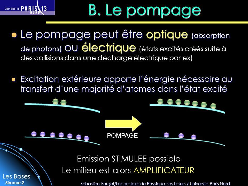Sébastien Forget/Laboratoire de Physique des Lasers / Université Paris Nord Séance 2 B.