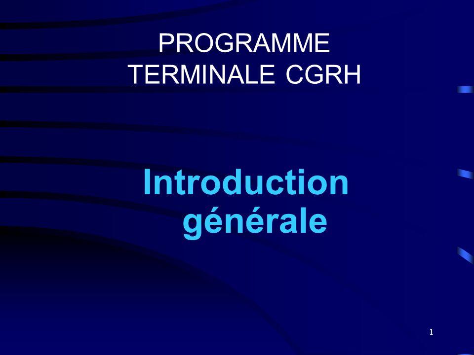 1 PROGRAMME TERMINALE CGRH Introduction générale
