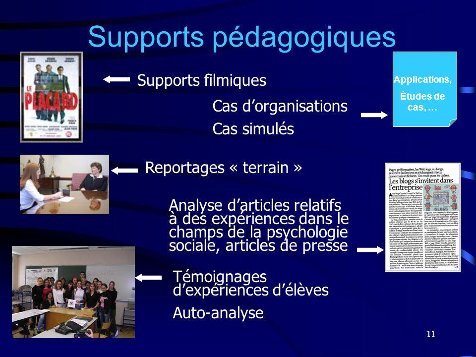 11 Supports pédagogiques Supports filmiques Cas dorganisations Cas simulés Reportages « terrain » Analyse darticles relatifs à des expériences dans le