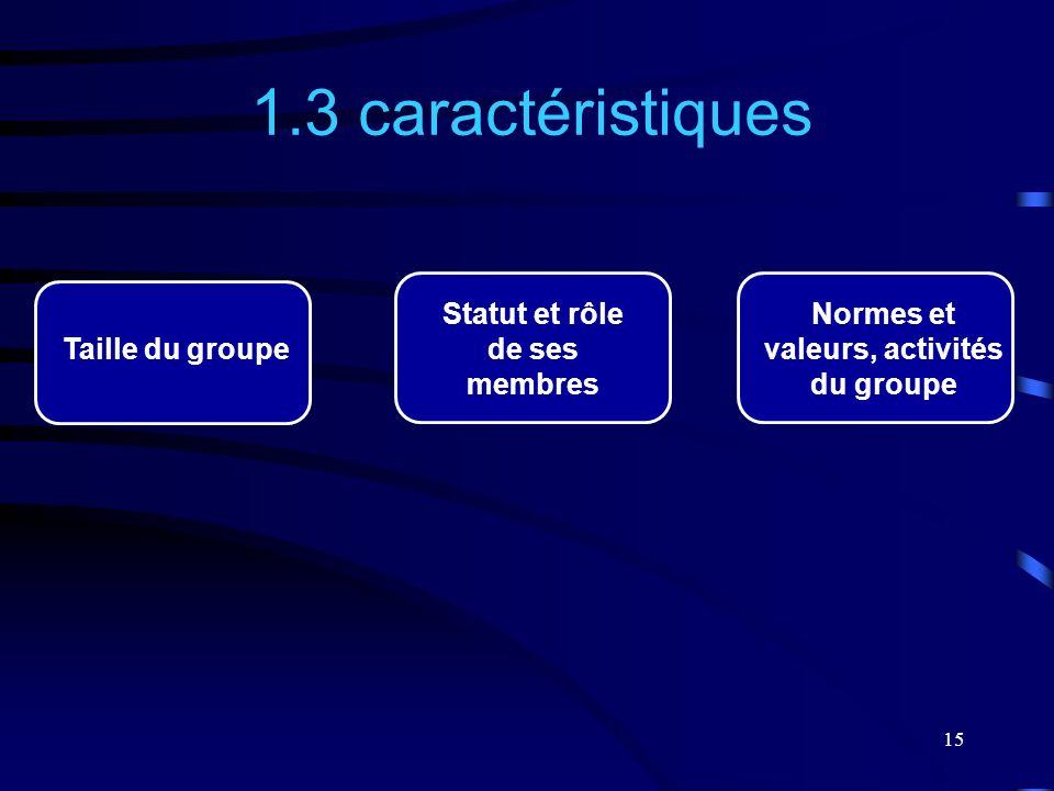 15 1.3 caractéristiques Normes et valeurs, activités du groupe Statut et rôle de ses membres Taille du groupe