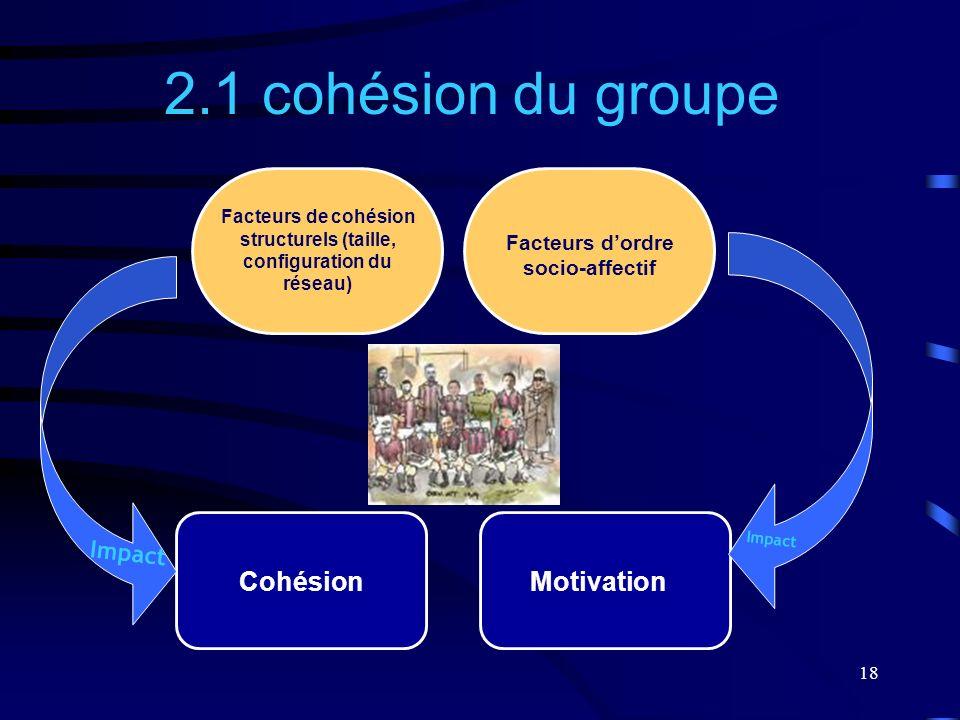 18 2.1 cohésion du groupe Cohésion Facteurs de cohésion structurels (taille, configuration du réseau) Impact Motivation Facteurs dordre socio-affectif