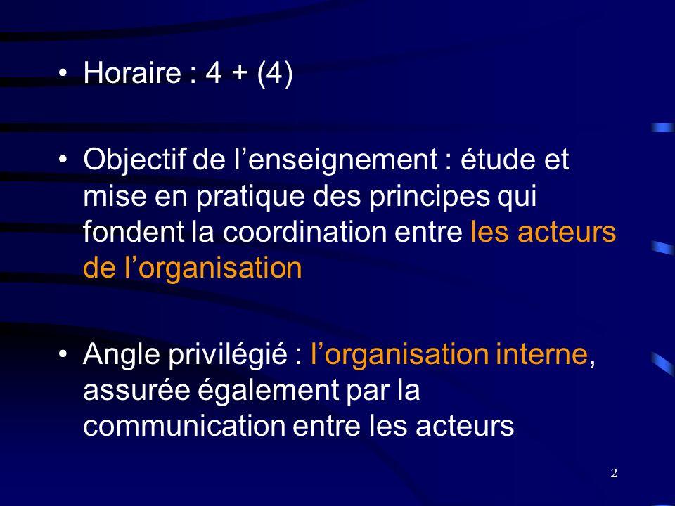 2 Horaire : 4 + (4) Objectif de lenseignement : étude et mise en pratique des principes qui fondent la coordination entre les acteurs de lorganisation