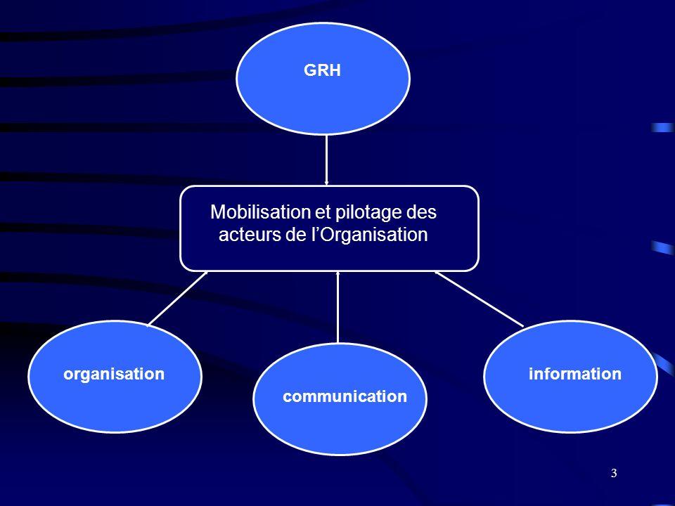 3 Mobilisation et pilotage des acteurs de lOrganisation organisation GRH information communication
