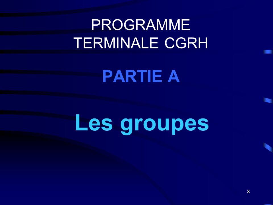 8 PROGRAMME TERMINALE CGRH PARTIE A Les groupes