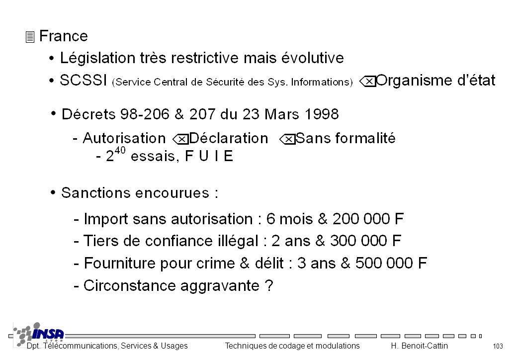 Dpt. Télécommunications, Services & Usages Techniques de codage et modulations H. Benoit-Cattin 103