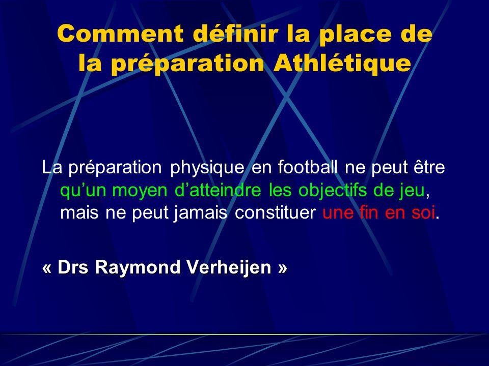 Comment définir la place de la préparation Athlétique La préparation physique en football ne peut être quun moyen datteindre les objectifs de jeu, mais ne peut jamais constituer une fin en soi.