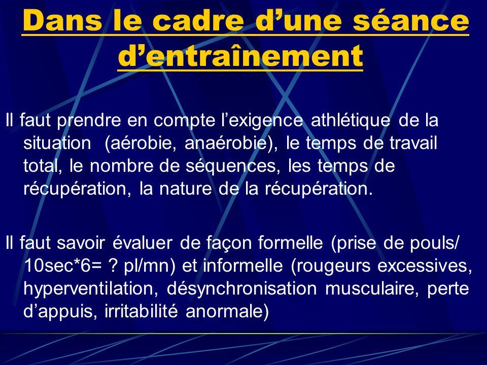 Dans le cadre dune séance dentraînement Il faut prendre en compte lexigence athlétique de la situation (aérobie, anaérobie), le temps de travail total, le nombre de séquences, les temps de récupération, la nature de la récupération.