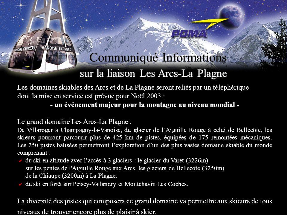 Les domaines skiables des Arcs et de La Plagne seront reliés par un téléphérique dont la mise en service est prévue pour Noël 2003 : - un événement ma