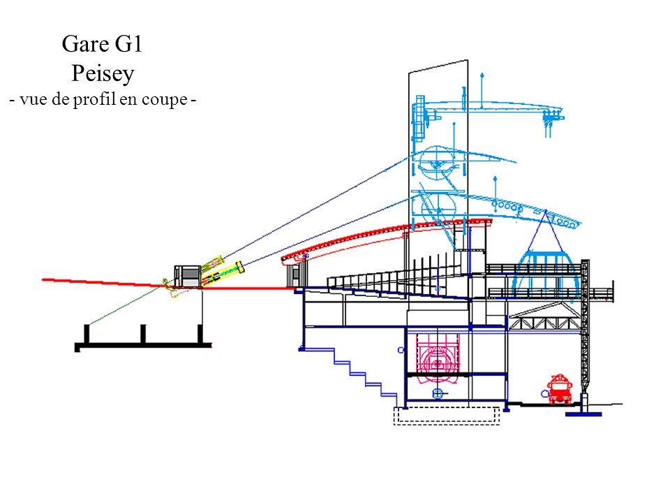 Gare G1 Peisey - vue de profil en coupe -