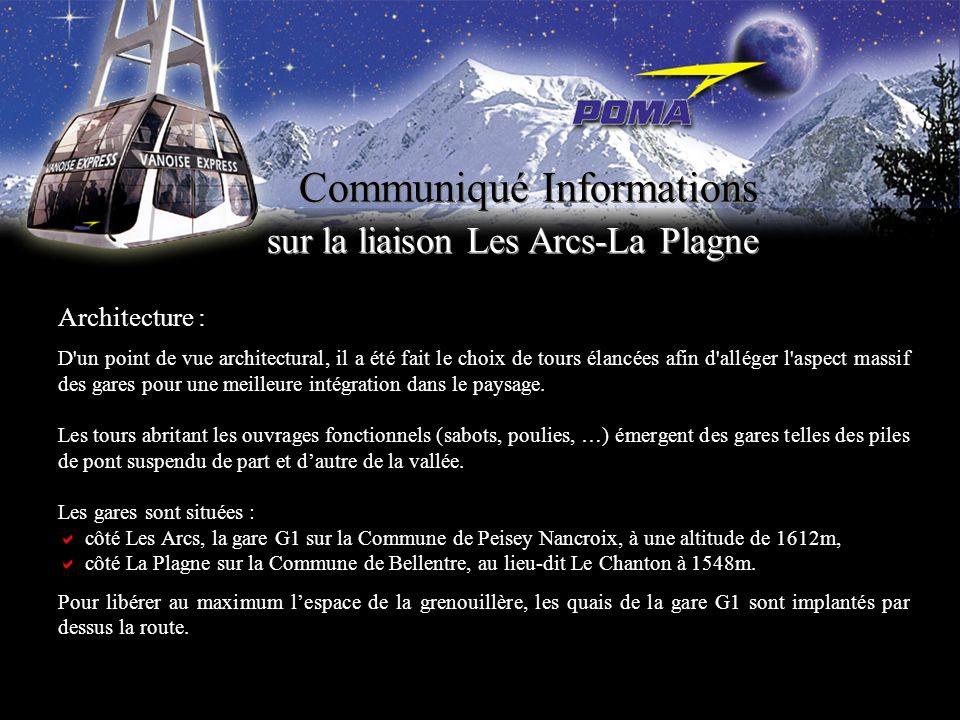 Communiqué Informations sur la liaison Les Arcs-La Plagne Vanoise Express : le téléphérique Ce téléphérique est une prouesse technique, le plus grand téléporté de ce type jamais construit au monde.