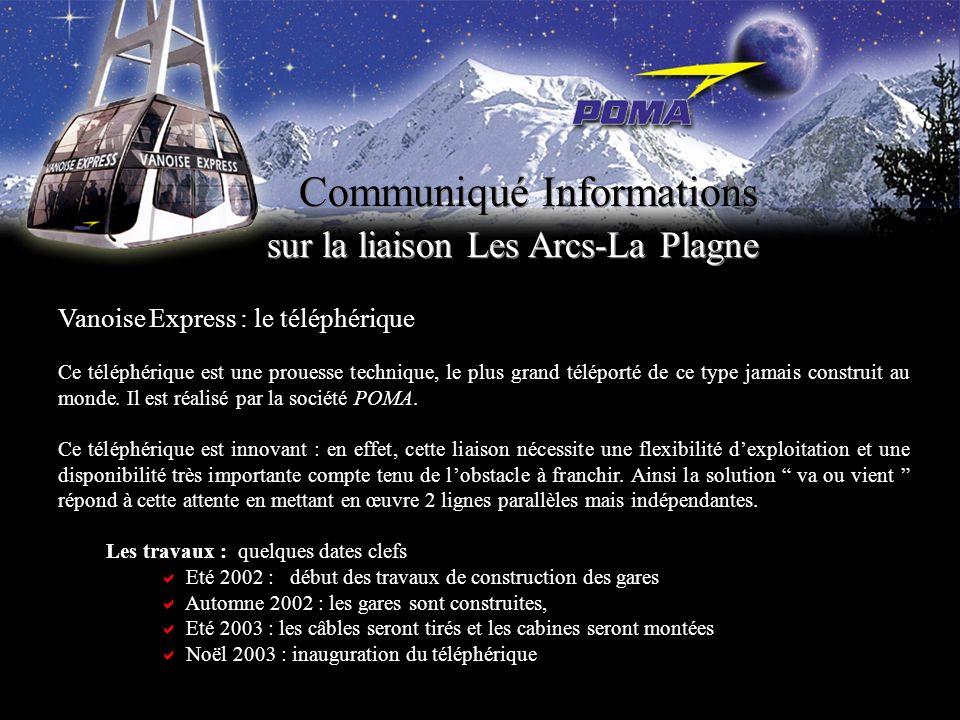 Communiqué Informations sur la liaison Les Arcs-La Plagne Vanoise Express : le téléphérique Ce téléphérique est une prouesse technique, le plus grand