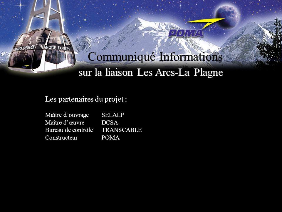 Communiqué Informations sur la liaison Les Arcs-La Plagne Les partenaires du projet : Maître douvrageSELALP Maître dœuvreDCSA Bureau de contrôleTRANSC