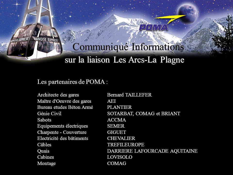 Communiqué Informations sur la liaison Les Arcs-La Plagne Les partenaires de POMA : Architecte des garesBernard TAILLEFER Maître d'Oeuvre des gares AE