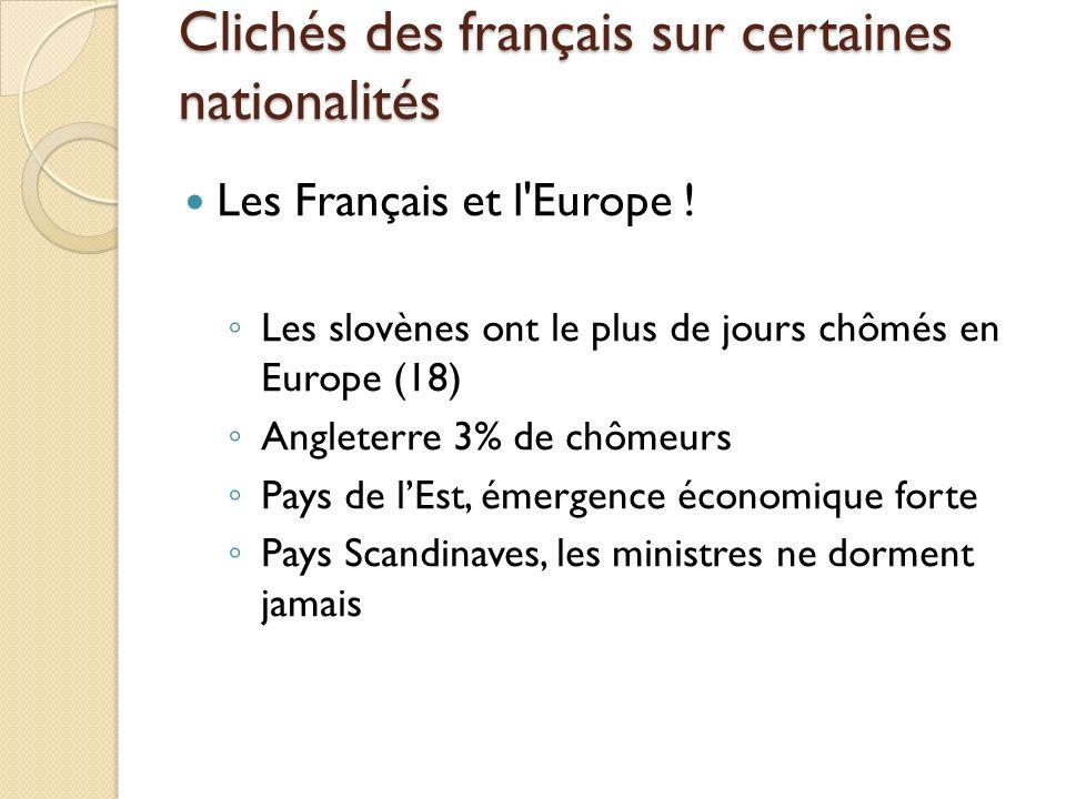 Clichés des français sur certaines nationalités Les Français et l'Europe ! Les slovènes ont le plus de jours chômés en Europe (18) Angleterre 3% de ch