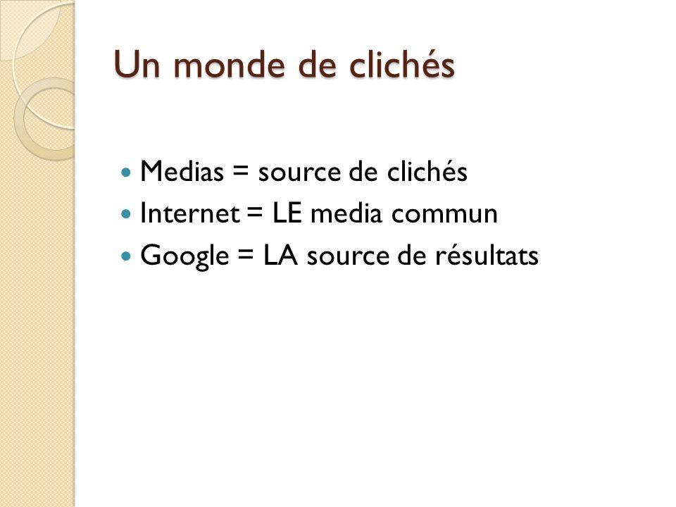 Medias = source de clichés Internet = LE media commun Google = LA source de résultats