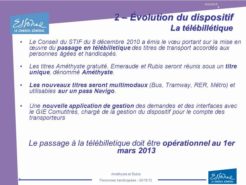 Améthyste et Rubis Personnes handicapées - 24/10/12 5 2 – Évolution du dispositif La télébillétique Le Conseil du STIF du 8 décembre 2010 a émis le vœ